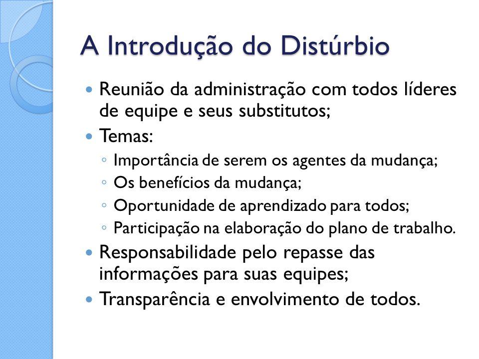 A Introdução do Distúrbio Reunião da administração com todos líderes de equipe e seus substitutos; Temas: ◦ Importância de serem os agentes da mudança