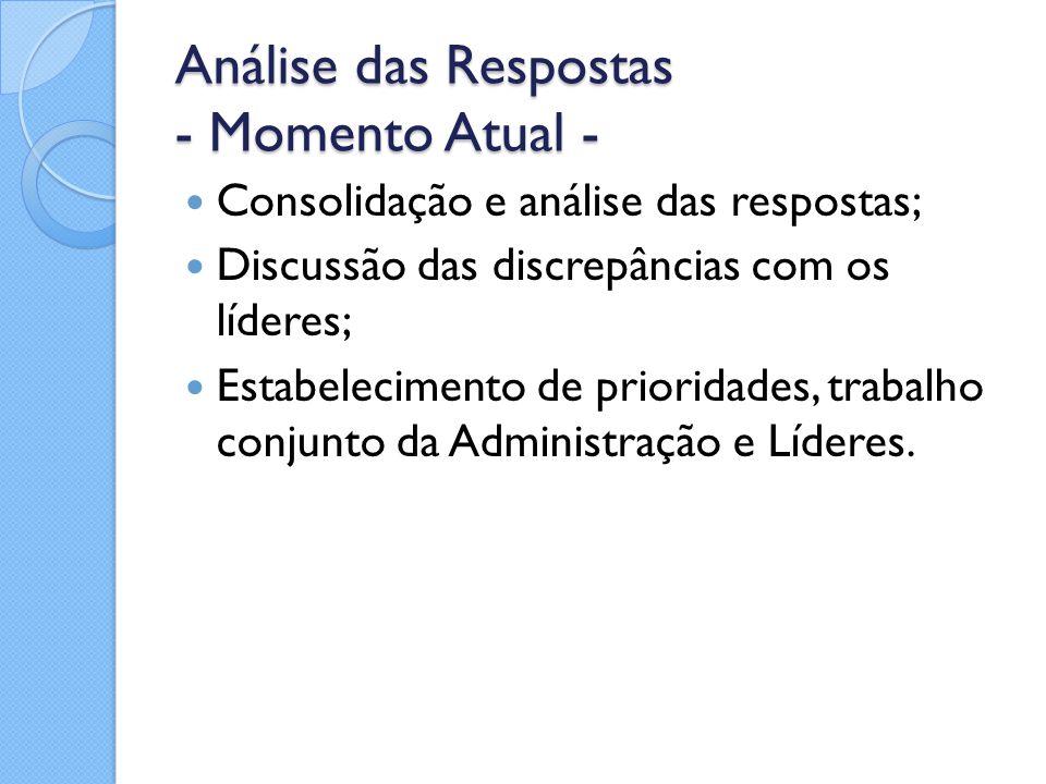 Análise das Respostas - Momento Atual - Consolidação e análise das respostas; Discussão das discrepâncias com os líderes; Estabelecimento de prioridad