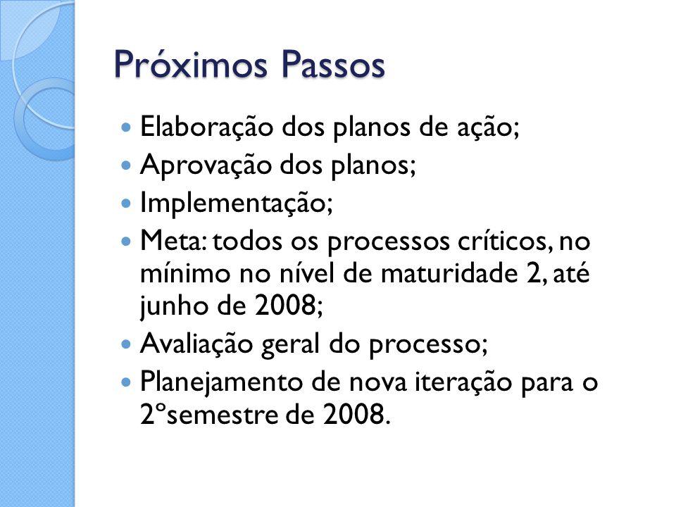 Próximos Passos Elaboração dos planos de ação; Aprovação dos planos; Implementação; Meta: todos os processos críticos, no mínimo no nível de maturidad