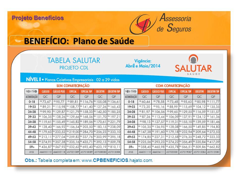 BENEFÍCIO: Plano de Saúde Projeto Benefícios Obs.: Tabela completa em: www.CPBENEFICIOS.hajato.com.