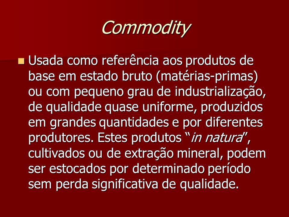 Commodity Usada como referência aos produtos de base em estado bruto (matérias-primas) ou com pequeno grau de industrialização, de qualidade quase uniforme, produzidos em grandes quantidades e por diferentes produtores.