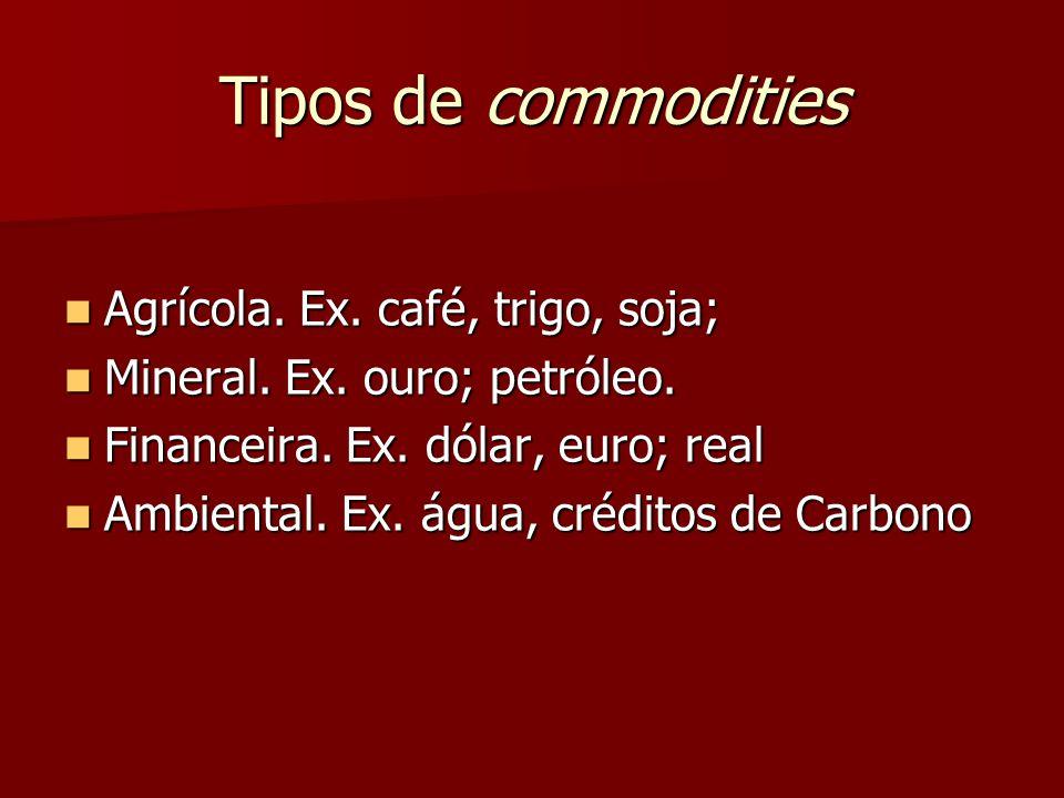 Tipos de commodities Agrícola.Ex. café, trigo, soja; Agrícola.