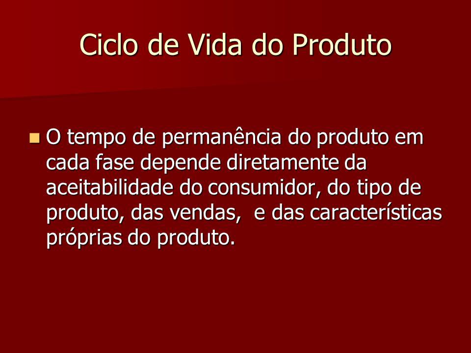 Ciclo de Vida do Produto O tempo de permanência do produto em cada fase depende diretamente da aceitabilidade do consumidor, do tipo de produto, das vendas, e das características próprias do produto.