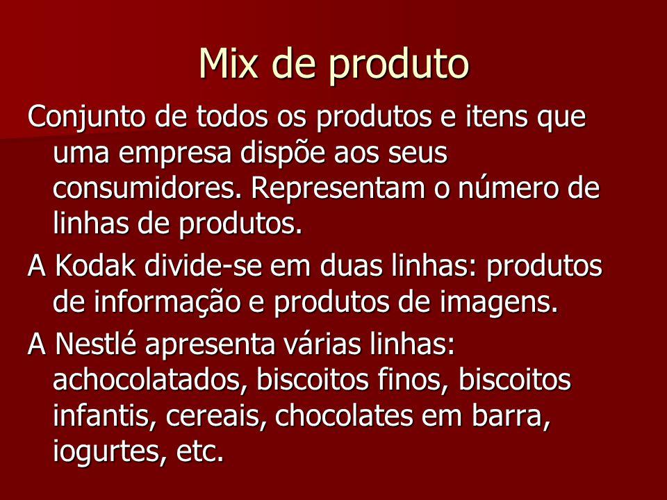 Mix de produto Conjunto de todos os produtos e itens que uma empresa dispõe aos seus consumidores.