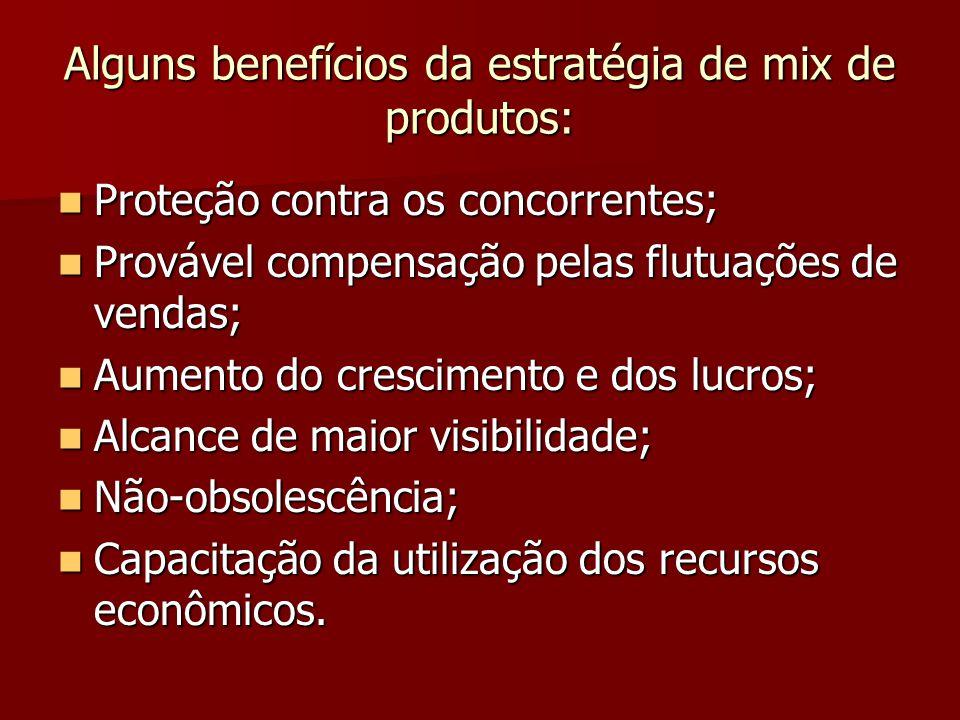 Alguns benefícios da estratégia de mix de produtos: Proteção contra os concorrentes; Proteção contra os concorrentes; Provável compensação pelas flutuações de vendas; Provável compensação pelas flutuações de vendas; Aumento do crescimento e dos lucros; Aumento do crescimento e dos lucros; Alcance de maior visibilidade; Alcance de maior visibilidade; Não-obsolescência; Não-obsolescência; Capacitação da utilização dos recursos econômicos.