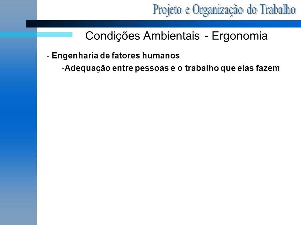 Condições Ambientais - Ergonomia - Engenharia de fatores humanos -Adequação entre pessoas e o trabalho que elas fazem