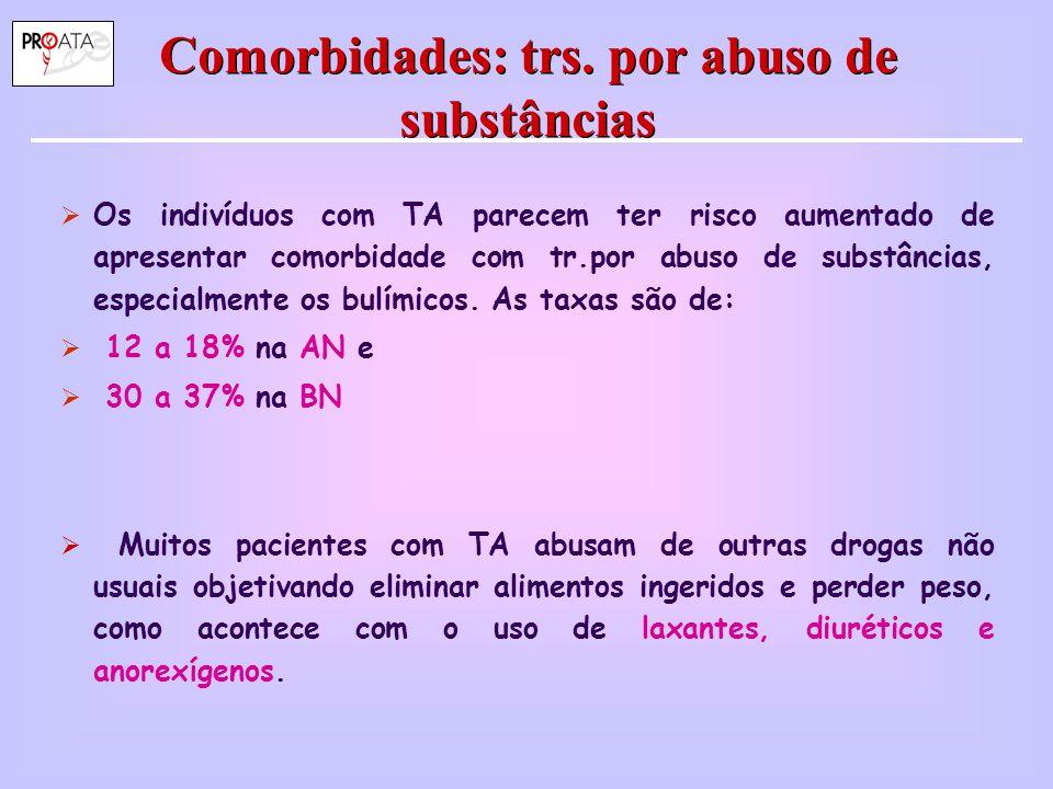 Comorbidades: trs. por abuso de substâncias  Os indivíduos com TA parecem ter risco aumentado de apresentar comorbidade com tr.por abuso de substânci