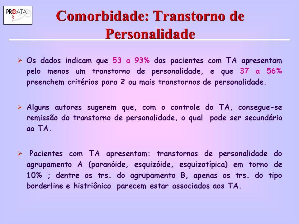 Comorbidade: Transtorno de Personalidade  Os dados indicam que 53 a 93% dos pacientes com TA apresentam pelo menos um transtorno de personalidade, e