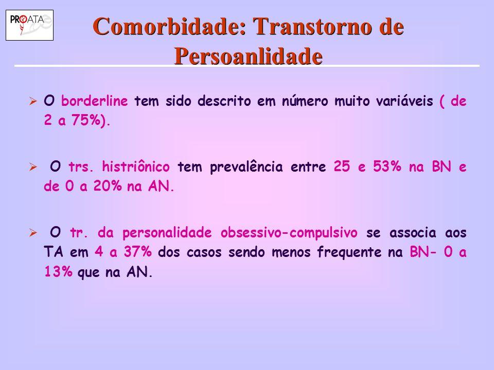 Comorbidade: Transtorno de Persoanlidade  O borderline tem sido descrito em número muito variáveis ( de 2 a 75%).  O trs. histriônico tem prevalênci