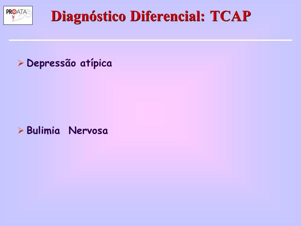 Diagnóstico Diferencial: TCAP  Depressão atípica  Bulimia Nervosa