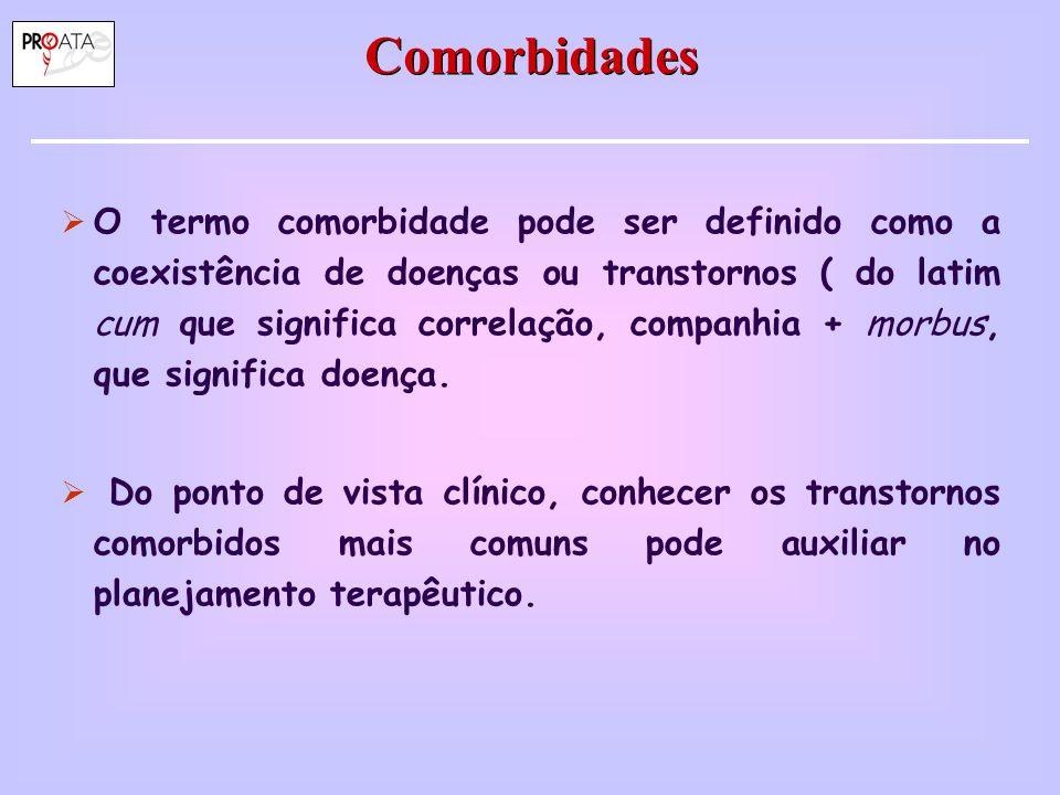 Comorbidades  O termo comorbidade pode ser definido como a coexistência de doenças ou transtornos ( do latim cum que significa correlação, companhia