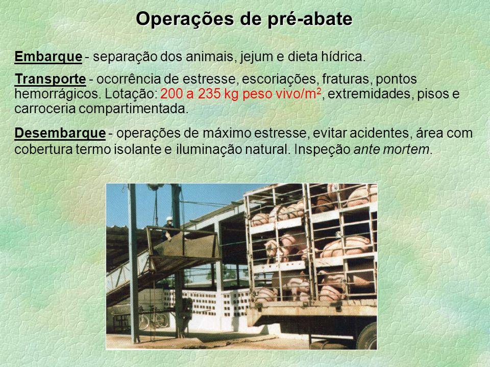 Operações de pré-abate Embarque - separação dos animais, jejum e dieta hídrica. Transporte - ocorrência de estresse, escoriações, fraturas, pontos hem