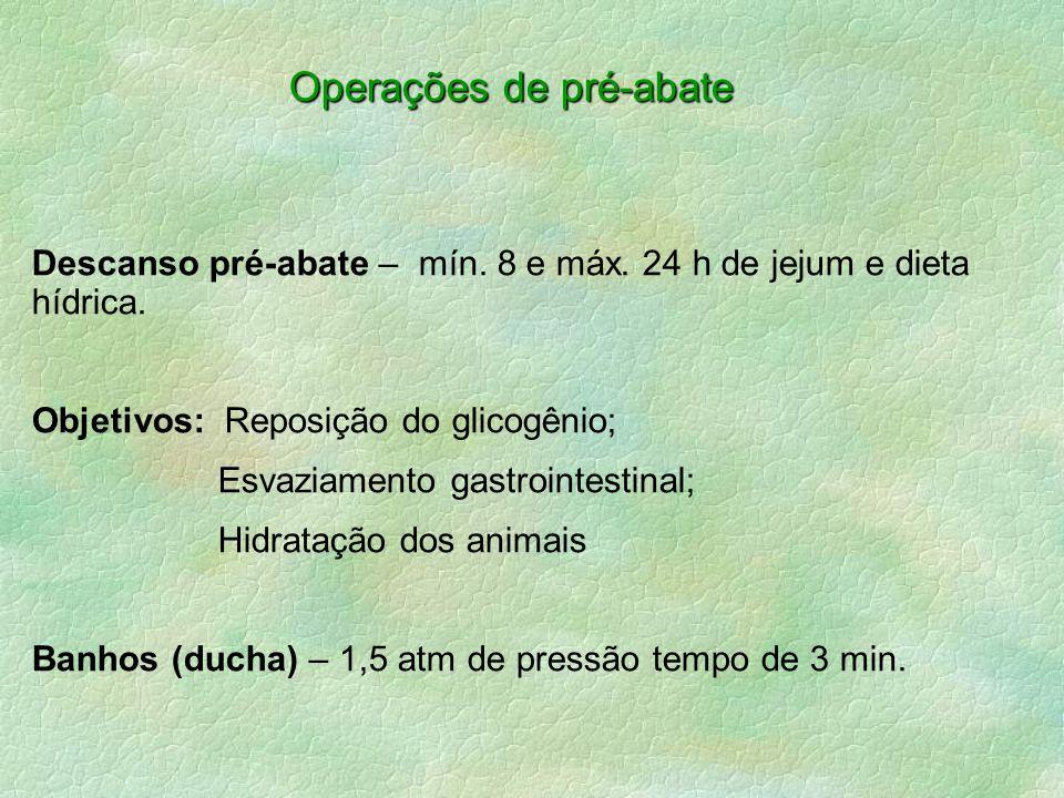 Operações de pré-abate Descanso pré-abate – mín. 8 e máx. 24 h de jejum e dieta hídrica. Objetivos: Reposição do glicogênio; Esvaziamento gastrointest