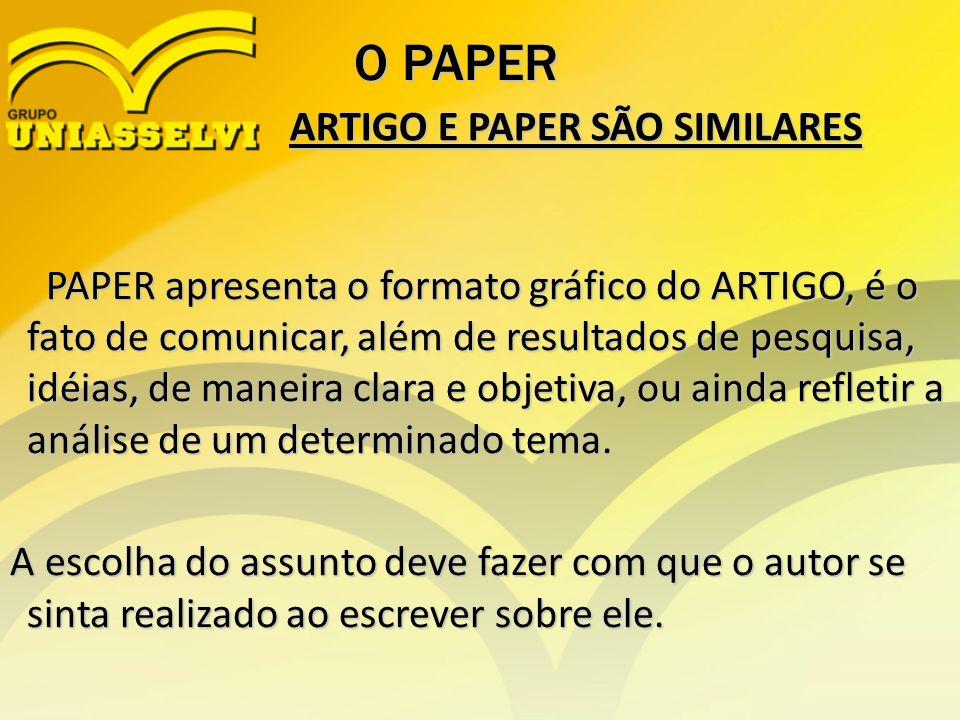 O PAPER PAPER apresenta o formato gráfico do ARTIGO, é o fato de comunicar, além de resultados de pesquisa, idéias, de maneira clara e objetiva, ou ai