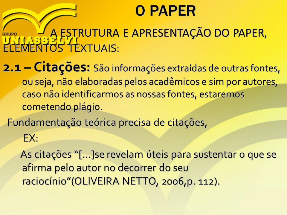 O PAPER A ESTRUTURA E APRESENTAÇÃO DO PAPER, A ESTRUTURA E APRESENTAÇÃO DO PAPER, ELEMENTOS TEXTUAIS: 2.1 – Citações: São informações extraídas de out