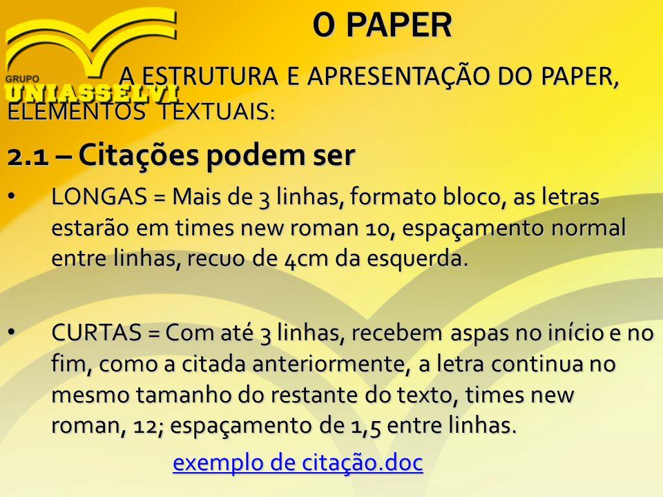 O PAPER A ESTRUTURA E APRESENTAÇÃO DO PAPER, A ESTRUTURA E APRESENTAÇÃO DO PAPER, ELEMENTOS TEXTUAIS: 2.1 – Citações podem ser LONGAS = Mais de 3 linh