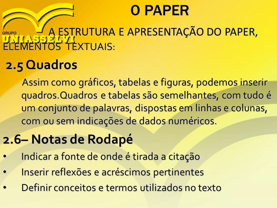 O PAPER A ESTRUTURA E APRESENTAÇÃO DO PAPER, A ESTRUTURA E APRESENTAÇÃO DO PAPER, ELEMENTOS TEXTUAIS: 2.5 Quadros 2.5 Quadros Assim como gráficos, tab