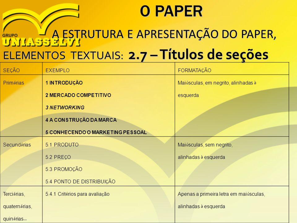 O PAPER A ESTRUTURA E APRESENTAÇÃO DO PAPER, A ESTRUTURA E APRESENTAÇÃO DO PAPER, ELEMENTOS TEXTUAIS: 2.7 – Títulos de seções SE Ç ÃO EXEMPLO FORMATA