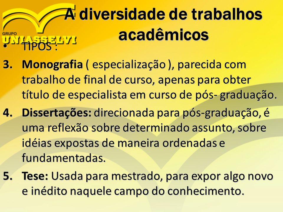A diversidade de trabalhos acadêmicos TIPOS : TIPOS : 3.Monografia ( especialização ), parecida com trabalho de final de curso, apenas para obter títu