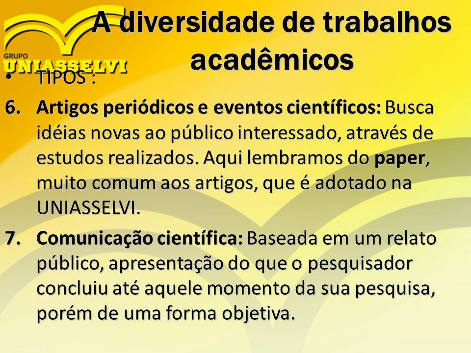 A diversidade de trabalhos acadêmicos TIPOS : TIPOS : 6.Artigos periódicos e eventos científicos: Busca idéias novas ao público interessado, através d