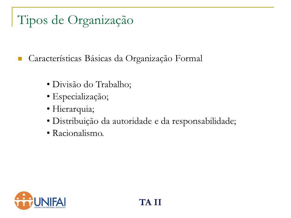 TA II Tipos de Organização Características Básicas da Organização Formal Divisão do Trabalho; Especialização; Hierarquia; Distribuição da autoridade e