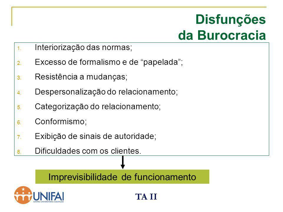 """TA II Disfunções da Burocracia 1. Interiorização das normas; 2. Excesso de formalismo e de """"papelada""""; 3. Resistência a mudanças; 4. Despersonalização"""