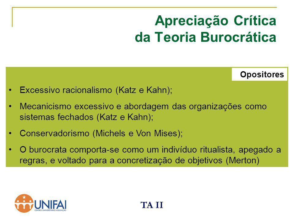 TA II Excessivo racionalismo (Katz e Kahn); Mecanicismo excessivo e abordagem das organizações como sistemas fechados (Katz e Kahn); Conservadorismo (