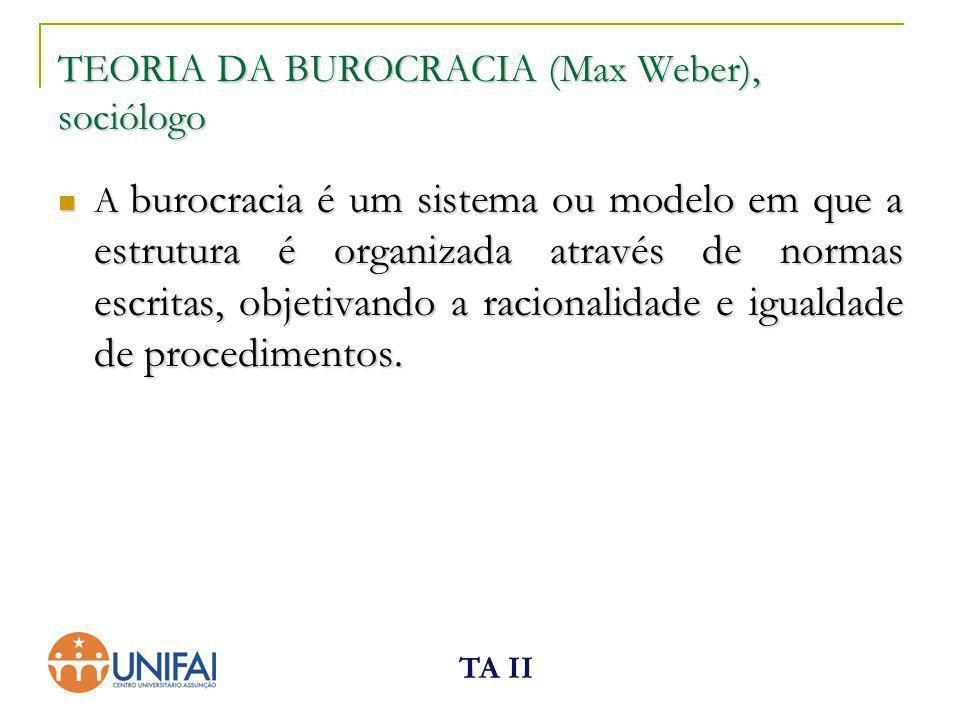 TA II TEORIA DA BUROCRACIA (Max Weber), sociólogo A burocracia é um sistema ou modelo em que a estrutura é organizada através de normas escritas, obje