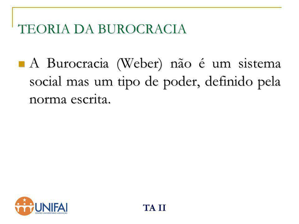 TA II TEORIA DA BUROCRACIA A Burocracia (Weber) não é um sistema social mas um tipo de poder, definido pela norma escrita. A Burocracia (Weber) não é