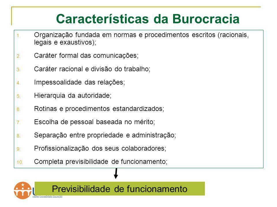 TA II Características da Burocracia 1. Organização fundada em normas e procedimentos escritos (racionais, legais e exaustivos); 2. Caráter formal das