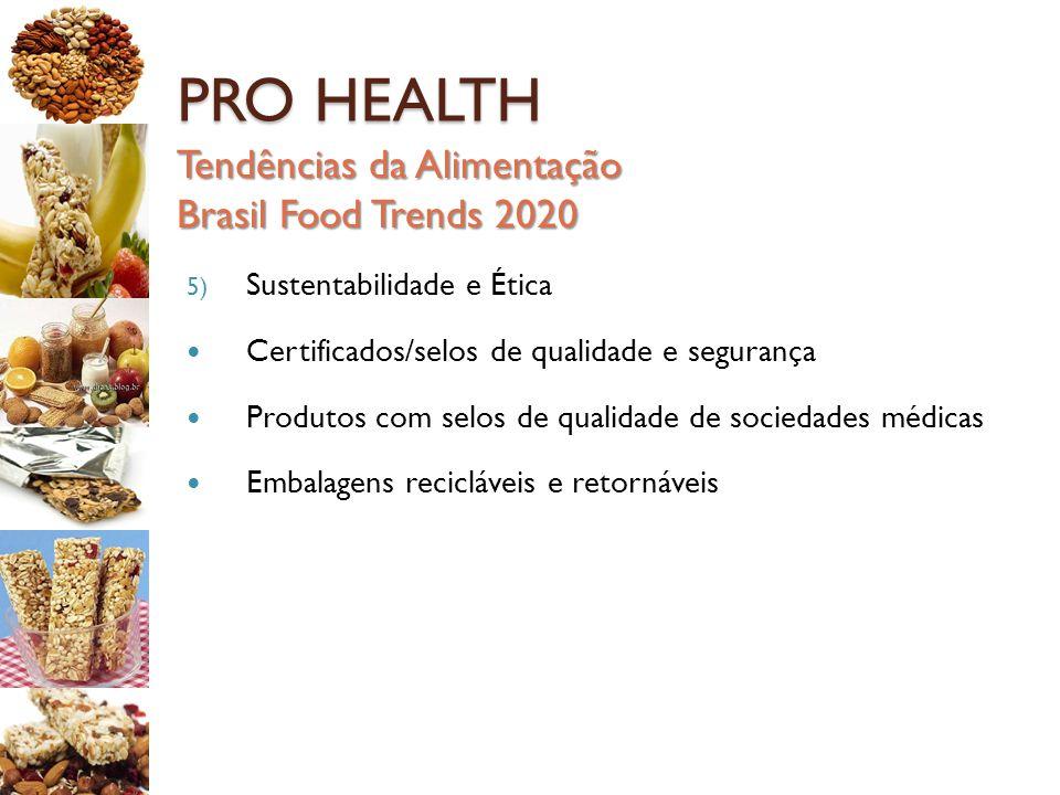 PRO HEALTH Tendências da Alimentação Brasil Food Trends 2020 5) Sustentabilidade e Ética Certificados/selos de qualidade e segurança Produtos com selo