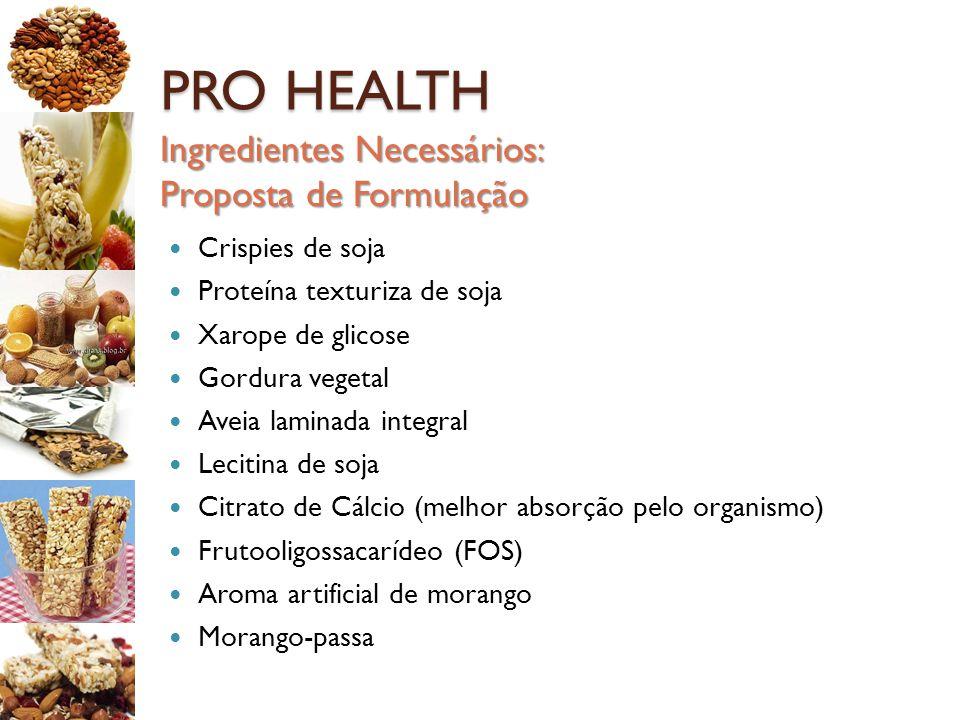 PRO HEALTH Crispies de soja Proteína texturiza de soja Xarope de glicose Gordura vegetal Aveia laminada integral Lecitina de soja Citrato de Cálcio (m