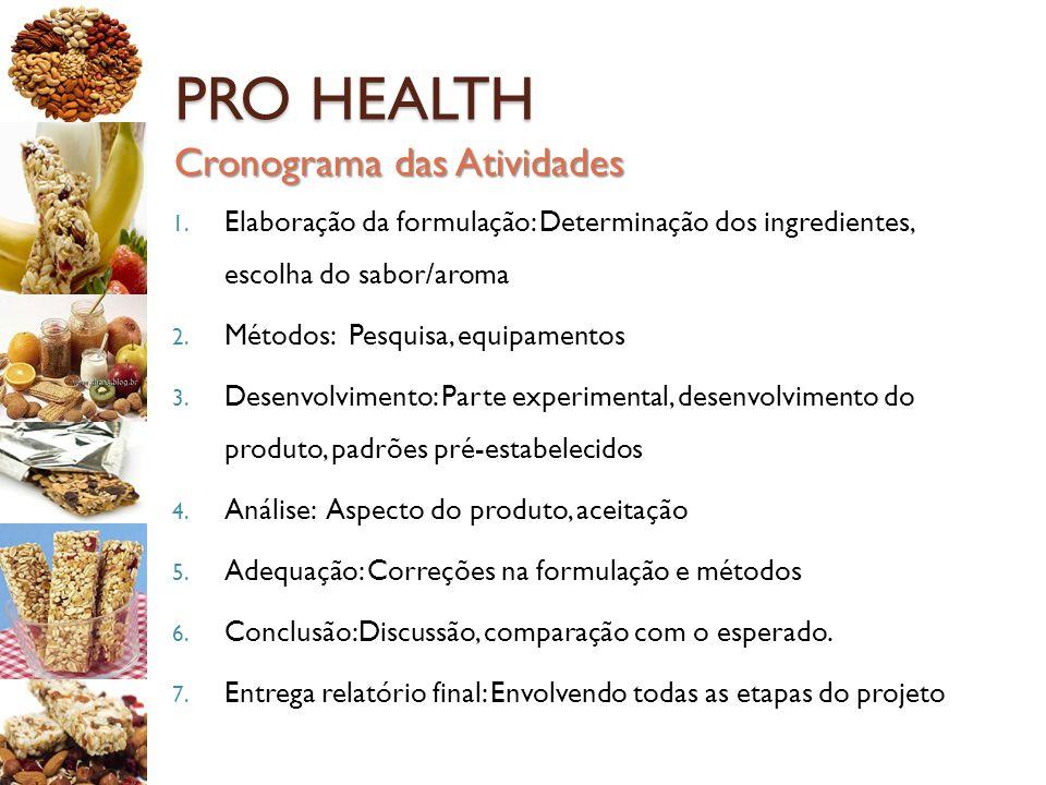 PRO HEALTH 1. Elaboração da formulação: Determinação dos ingredientes, escolha do sabor/aroma 2. Métodos: Pesquisa, equipamentos 3. Desenvolvimento: P
