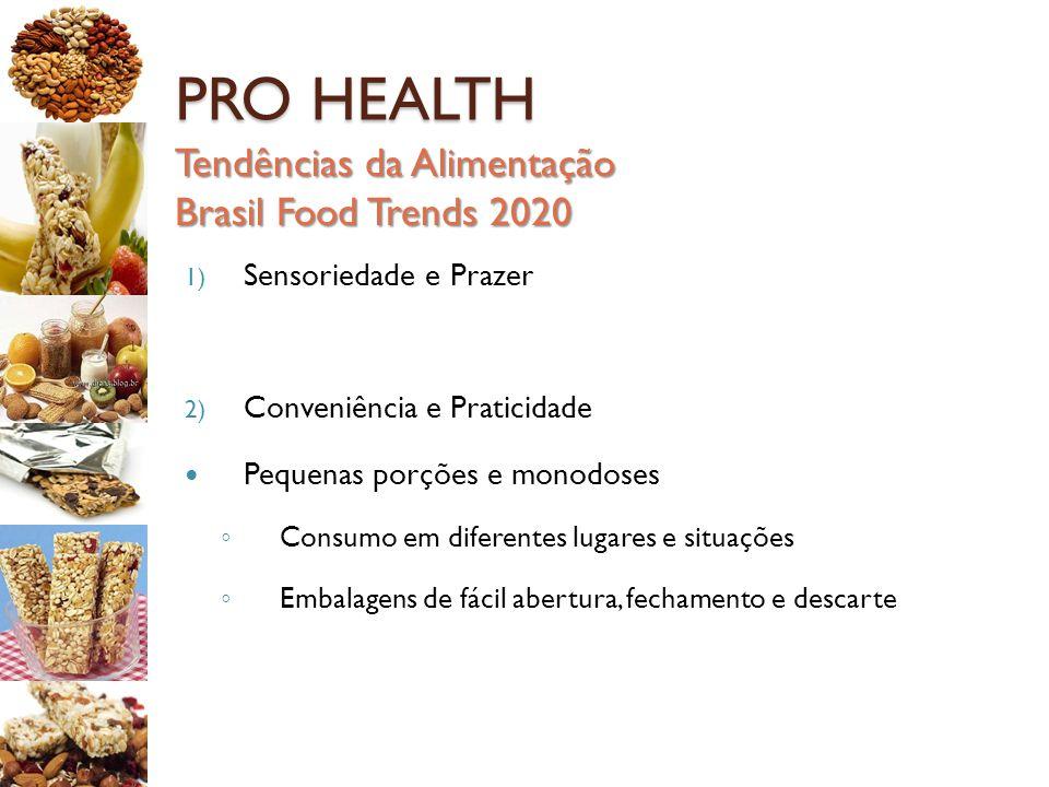 PRO HEALTH Tendências da Alimentação Brasil Food Trends 2020 1) Sensoriedade e Prazer 2) Conveniência e Praticidade Pequenas porções e monodoses ◦ Con