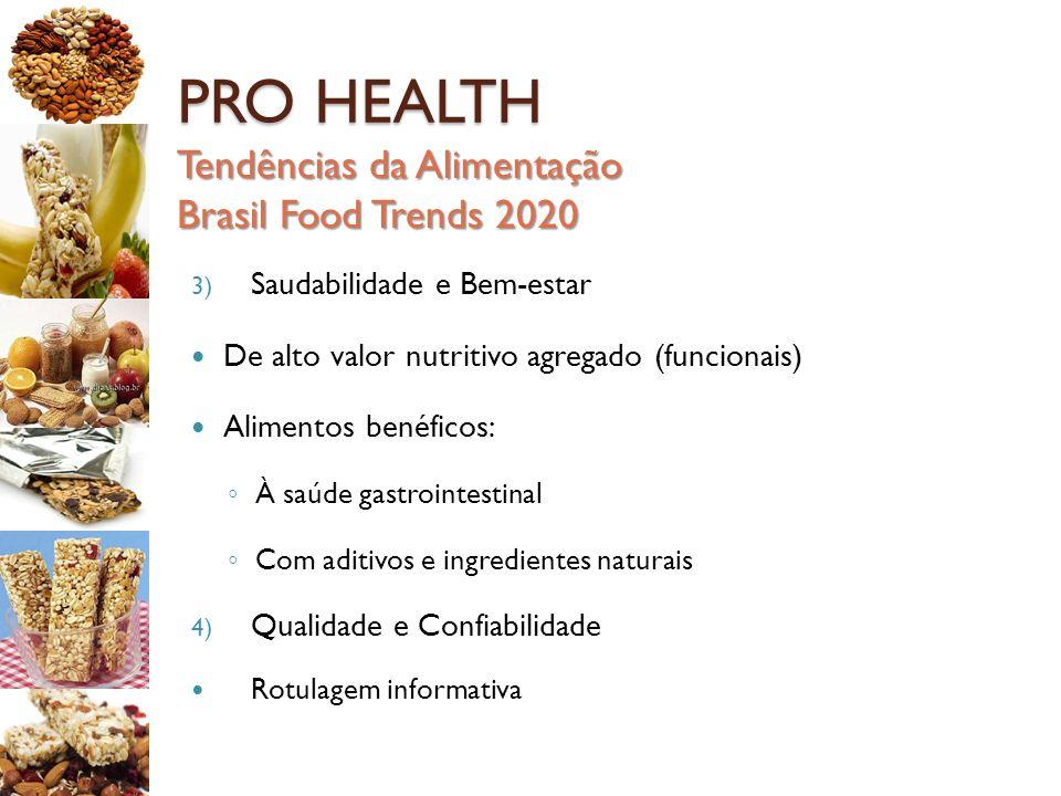 PRO HEALTH Tendências da Alimentação Brasil Food Trends 2020 3) Saudabilidade e Bem-estar De alto valor nutritivo agregado (funcionais) Alimentos bené