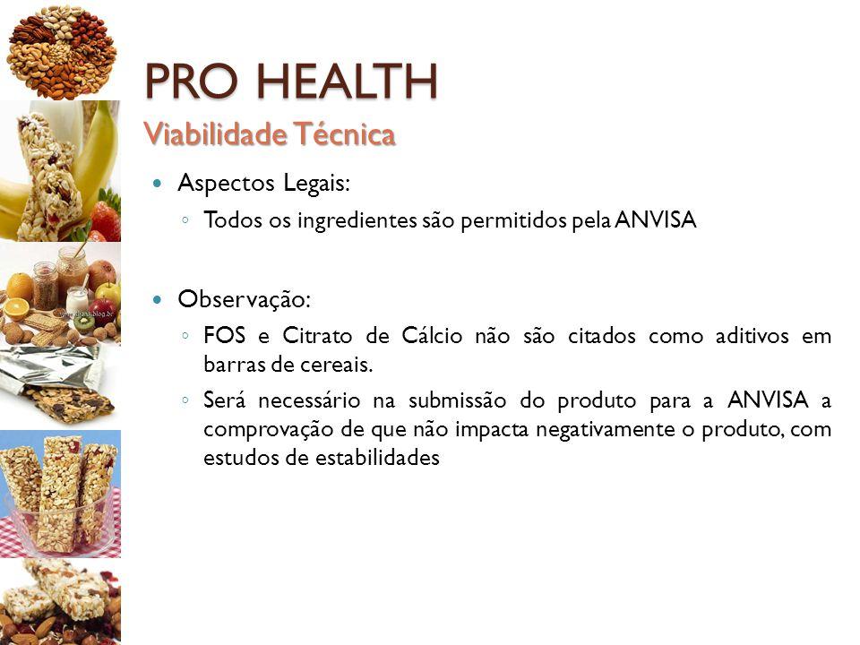PRO HEALTH Aspectos Legais: ◦ Todos os ingredientes são permitidos pela ANVISA Observação: ◦ FOS e Citrato de Cálcio não são citados como aditivos em