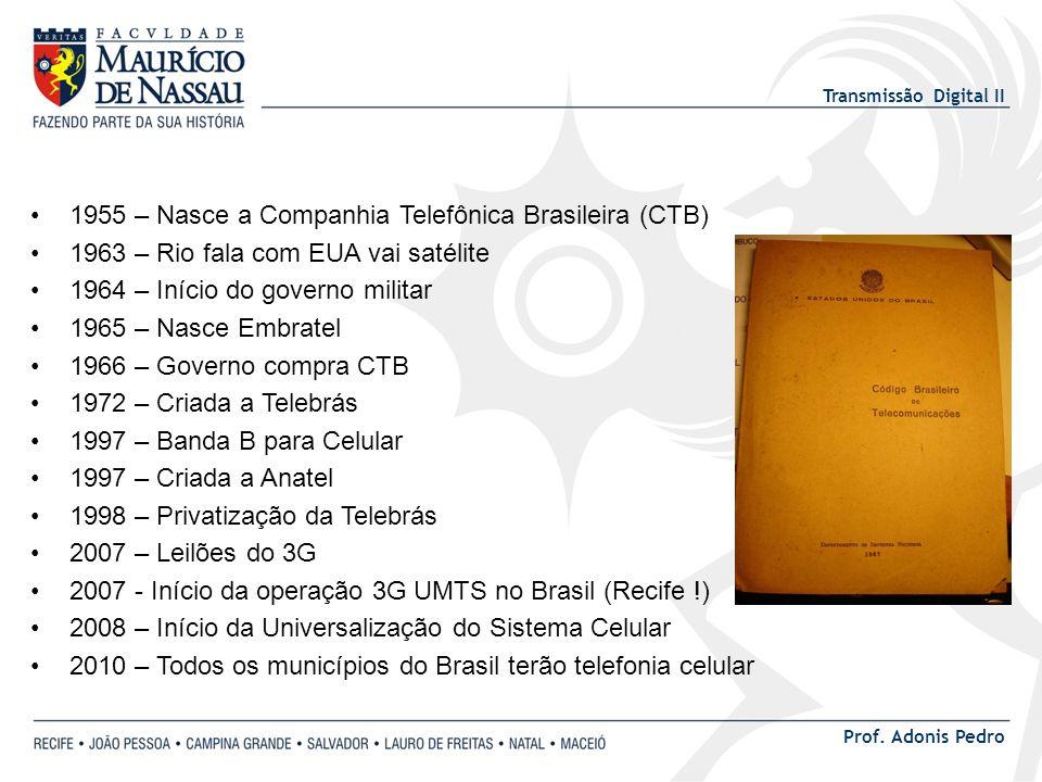 Transmissão Digital II Prof. Adonis Pedro 1955 – Nasce a Companhia Telefônica Brasileira (CTB) 1963 – Rio fala com EUA vai satélite 1964 – Início do g