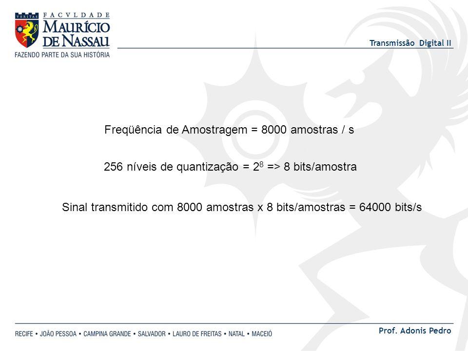 Transmissão Digital II Prof. Adonis Pedro Freqüência de Amostragem = 8000 amostras / s 256 níveis de quantização = 2 8 => 8 bits/amostra Sinal transmi