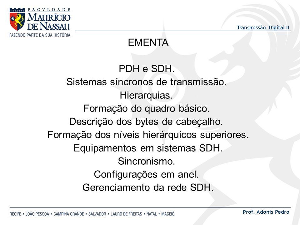 Transmissão Digital II Prof. Adonis Pedro EMENTA PDH e SDH. Sistemas síncronos de transmissão. Hierarquias. Formação do quadro básico. Descrição dos b