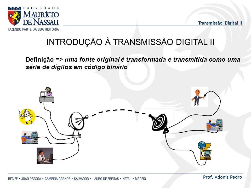 Transmissão Digital II Prof. Adonis Pedro INTRODUÇÃO À TRANSMISSÃO DIGITAL II Definição => uma fonte original é transformada e transmitida como uma sé