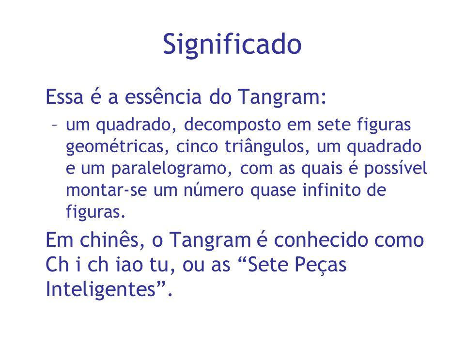 Significado Essa é a essência do Tangram: –um quadrado, decomposto em sete figuras geométricas, cinco triângulos, um quadrado e um paralelogramo, com