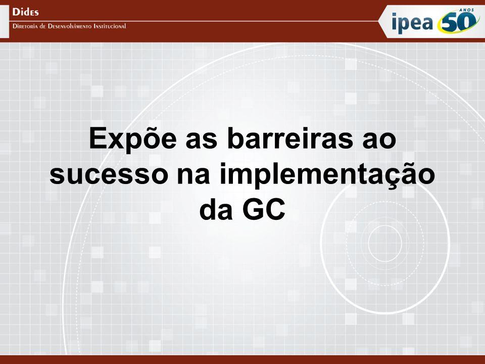 Expõe as barreiras ao sucesso na implementação da GC