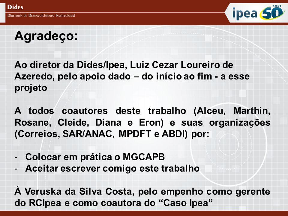 Agradeço: Ao diretor da Dides/Ipea, Luiz Cezar Loureiro de Azeredo, pelo apoio dado – do início ao fim - a esse projeto A todos coautores deste trabal