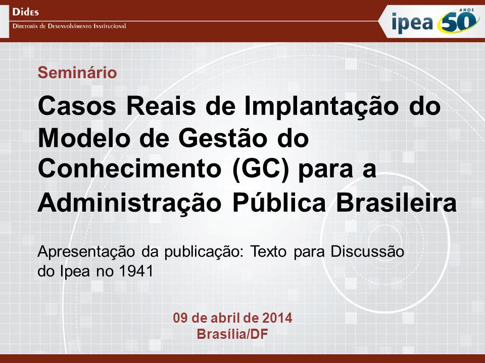 Apresentação da publicação: Texto para Discussão do Ipea no 1941 Seminário Casos Reais de Implantação do Modelo de Gestão do Conhecimento (GC) para a