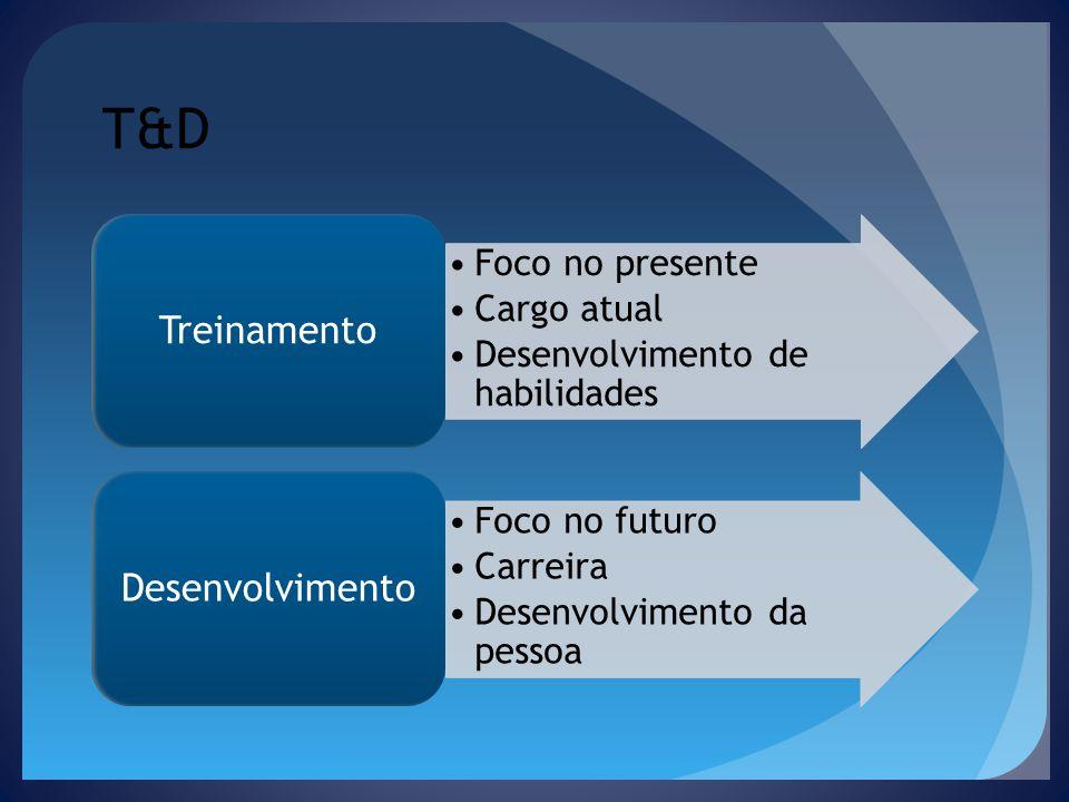 T&D Foco no presente Cargo atual Desenvolvimento de habilidades Treinamento Foco no futuro Carreira Desenvolvimento da pessoa Desenvolvimento