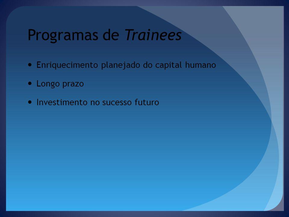 Programas de Trainees Enriquecimento planejado do capital humano Longo prazo Investimento no sucesso futuro