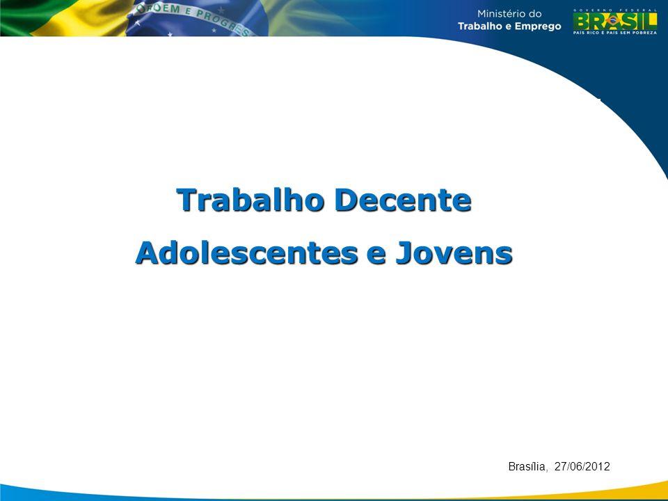 Brasília, 27/06/2012 Trabalho Decente Adolescentes e Jovens