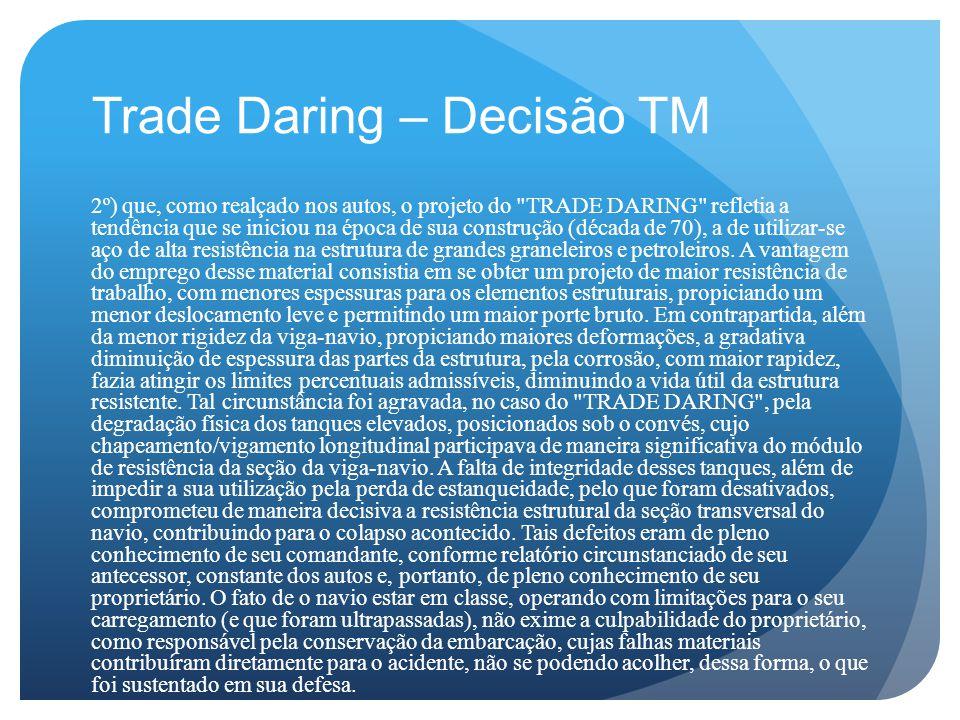 Trade Daring – Decisão TM 2º) que, como realçado nos autos, o projeto do TRADE DARING refletia a tendência que se iniciou na época de sua construção (década de 70), a de utilizar-se aço de alta resistência na estrutura de grandes graneleiros e petroleiros.