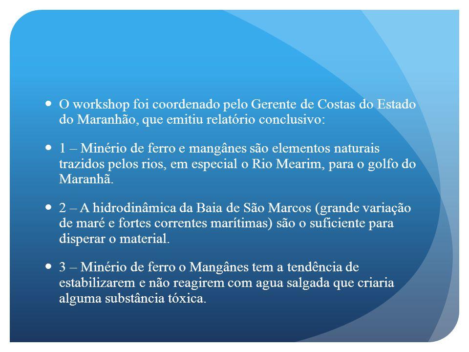 O workshop foi coordenado pelo Gerente de Costas do Estado do Maranhão, que emitiu relatório conclusivo: 1 – Minério de ferro e mangânes são elementos naturais trazidos pelos rios, em especial o Rio Mearim, para o golfo do Maranhã.