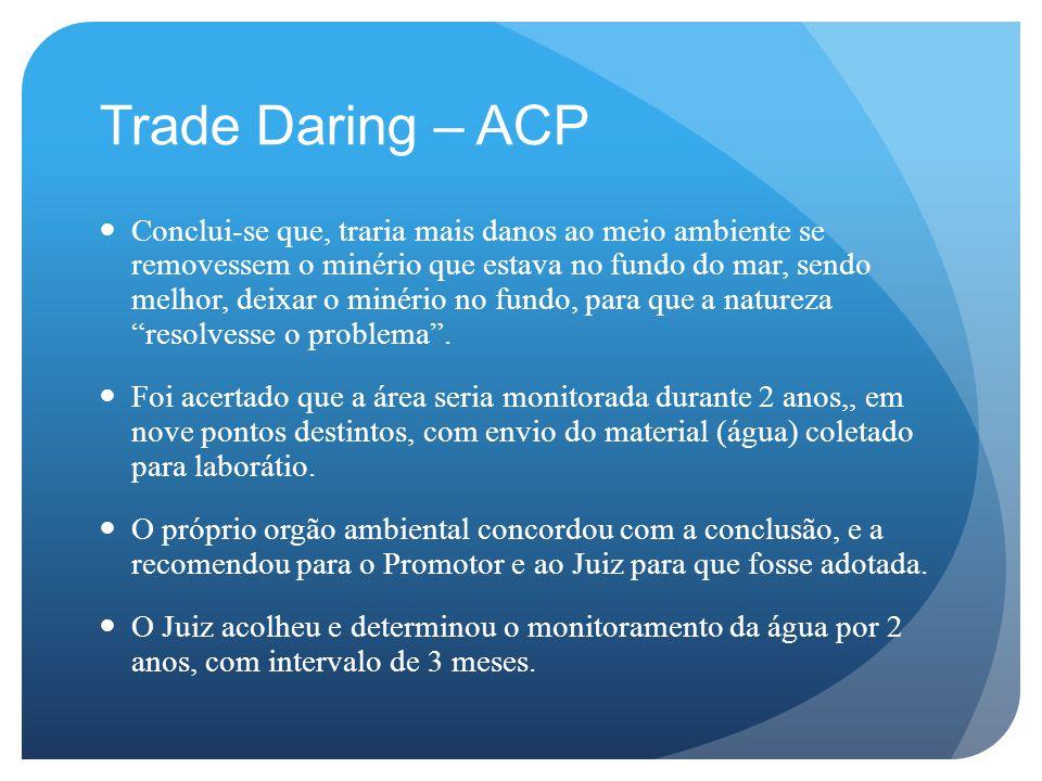 Trade Daring – ACP Conclui-se que, traria mais danos ao meio ambiente se removessem o minério que estava no fundo do mar, sendo melhor, deixar o minério no fundo, para que a natureza resolvesse o problema .